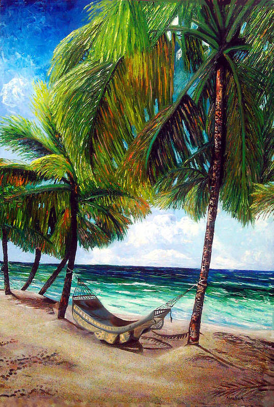 Beach Art Print featuring the painting On The Beach by Jose Manuel Abraham