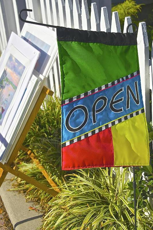 Open Sign Art Print featuring the photograph Open In Lewis Delaware by Mark Holden