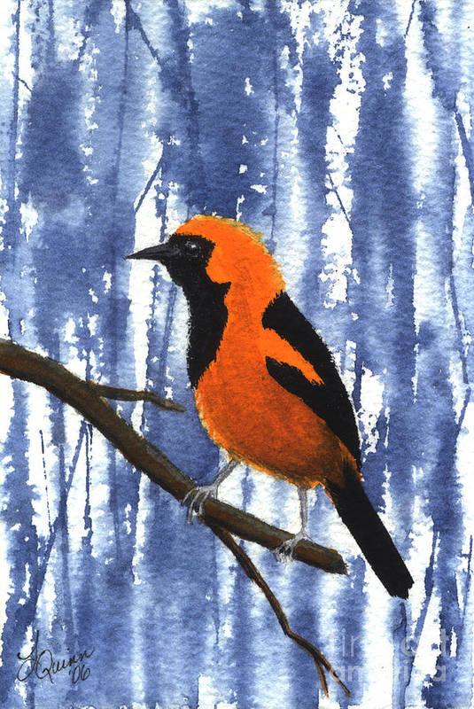 Bird Art Print featuring the painting Orange-headed Oriole by Lynn Quinn