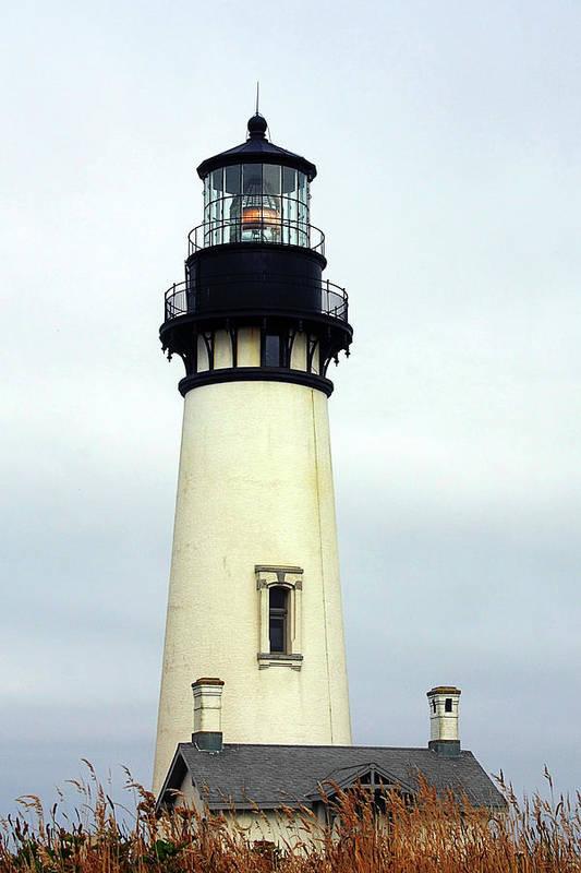 Yaquina Head Lighthouse Art Print featuring the photograph Oregon Coast Lighthouses - Yaquina Head Lighthouse by Christine Till