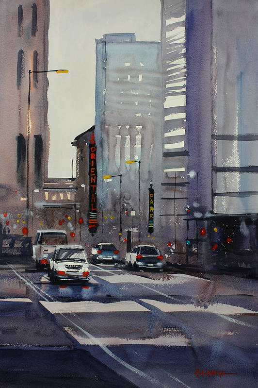 Ryan Radke Print featuring the painting Oriental Theater - Chicago by Ryan Radke