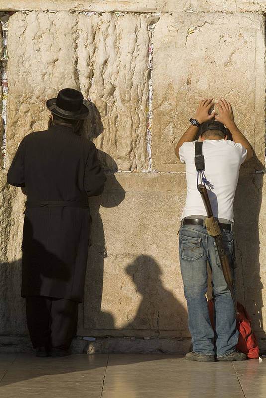 Judaism Art Print featuring the photograph Orthodox Jew And Soldier Pray, Western by Richard Nowitz