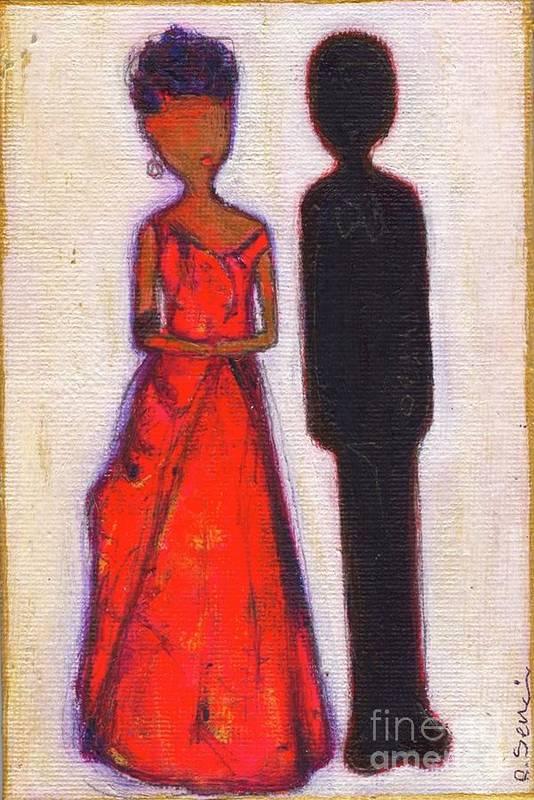 Girl Print featuring the painting Our First Lady In Red Her Husband Is Black by Ricky Sencion
