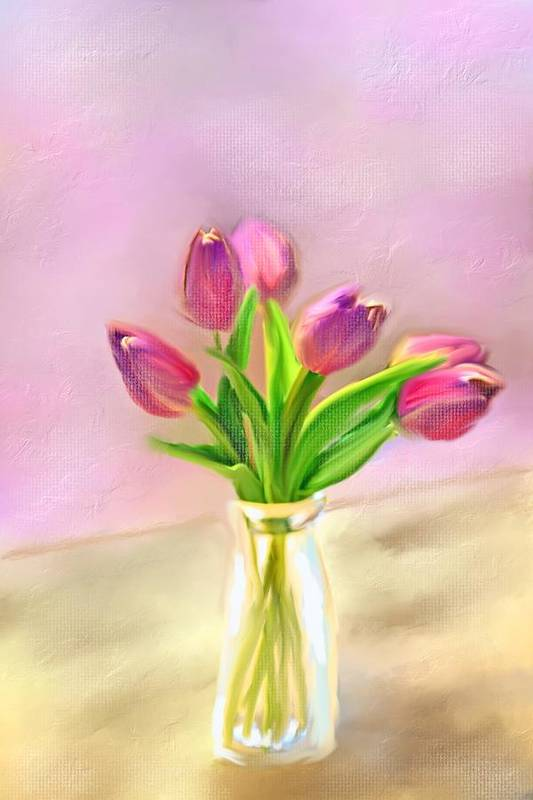 Red Tulips Art Print featuring the photograph Painted Tulips by Mary Timman