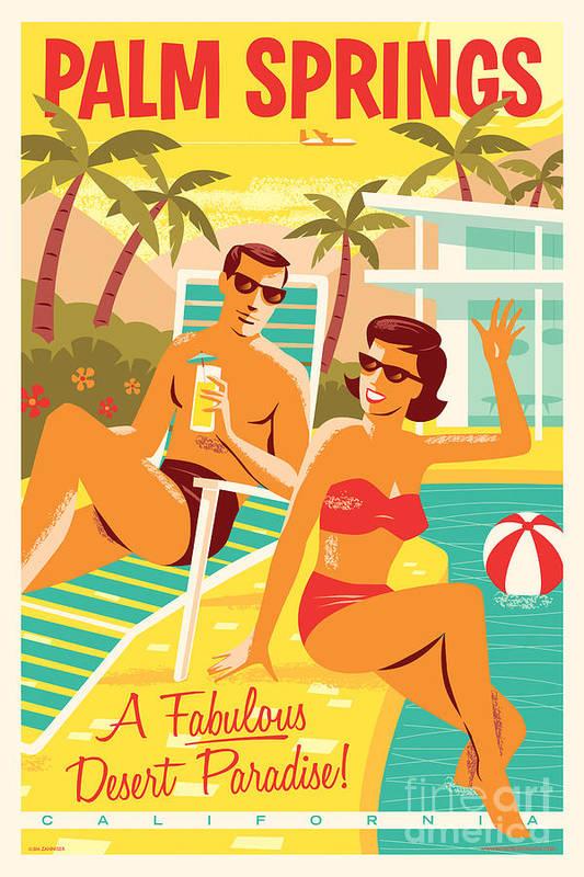 Pop Art Art Print featuring the digital art Palm Springs Poster - Retro Travel by Jim Zahniser