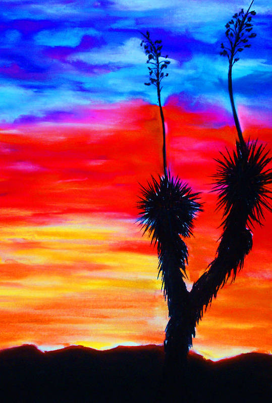 Sunset Art Print featuring the painting Paso Del Norte Sunset 1 by Melinda Etzold