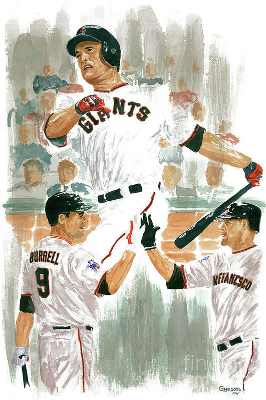 Pat Burrell Art Print featuring the painting Pat Burrell Study 2 by George Brooks