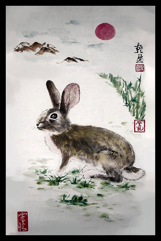 Rabbit Art Print featuring the painting Peaceful by Lilian Storino