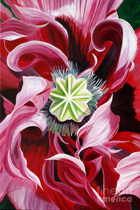 Macro Flower Art Print featuring the painting Pink Entanglement by Julie Pflanzer