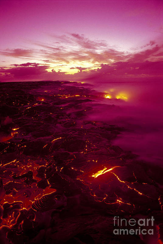 2003va Earlier Art Print featuring the photograph Pink Volcano Sunrise by Ron Dahlquist - Printscapes