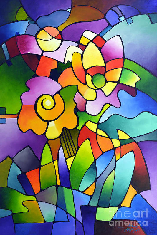 Pinwheel Blooms Art Print By Sally Trace