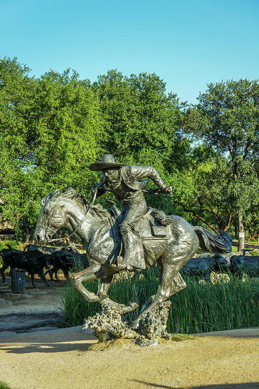 Dallas Art Print featuring the photograph Pioneer Plaza Cattle Drive Monument Dallas by Art Spectrum