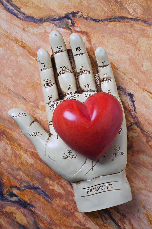 Palm Reader Hand Print featuring the photograph Plam Reader Hand Holding Red Stone Heart by Garry Gay