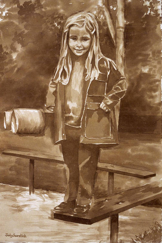 Little Girl On Bench In Park Art Print featuring the painting Playground 2 by Judy Swerlick