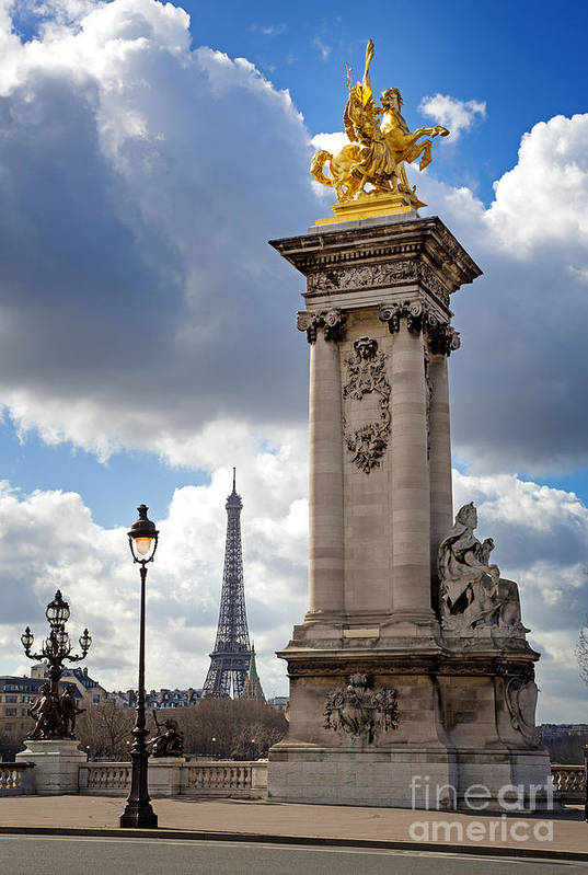 Bridge Art Print featuring the photograph Pont Alexandre IIi Bridge With The Eiffel Tower by Jane Rix