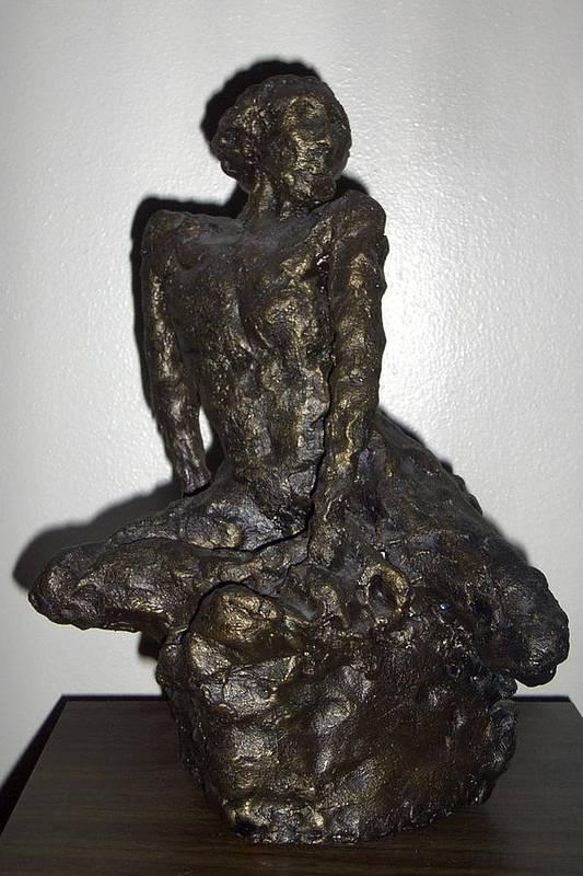 Figure Sculpture Seated Man Art Print featuring the sculpture Poor Warrior by Sally Van Driest