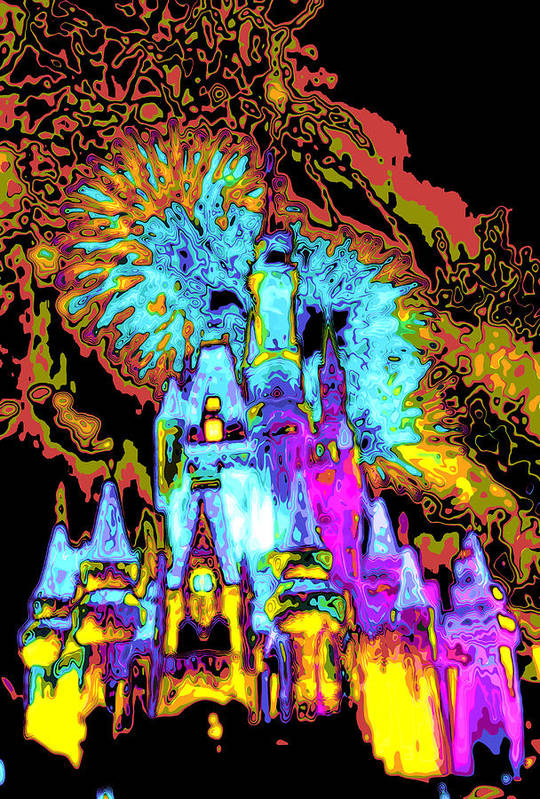 Cincerella Caste. Art Print featuring the digital art Popart Castle by Charles Ridgway