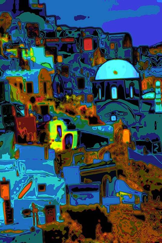 Greece Art Print featuring the photograph Popart Santorini by Charles Ridgway