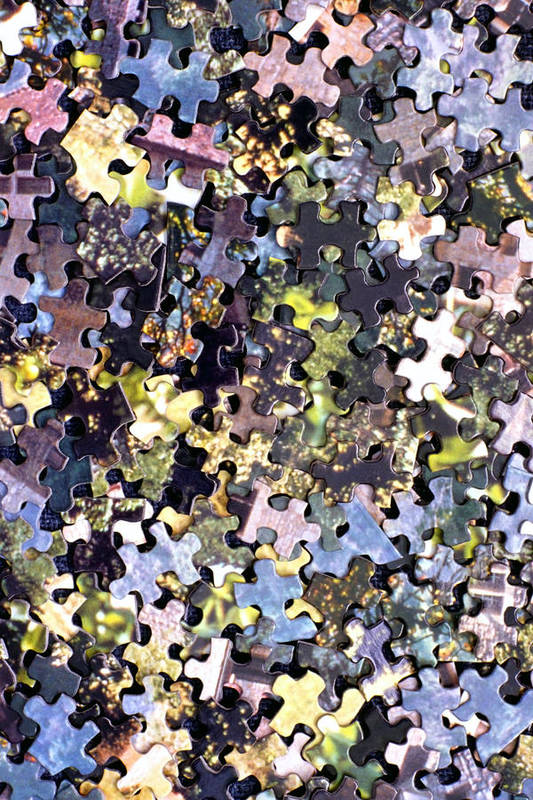 Puzzle Art Print featuring the photograph Puzzle Piece Abstract by Steve Ohlsen