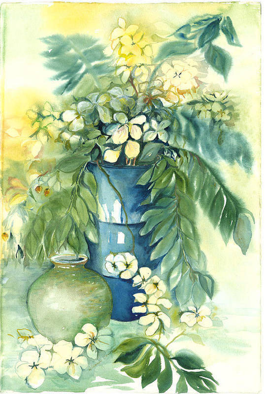 Very Loose Still Life Of Vase And Flowers Art Print featuring the painting Queen Emma In Blue Vase by Ileana Carreno