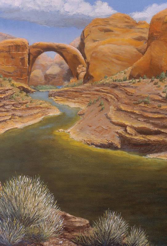 Rainbow Bridge Art Print featuring the painting Rainbow Bridge by Jerry McElroy