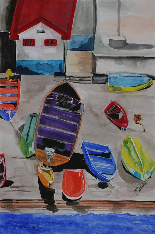 Boats Art Print featuring the painting Rainbow On The Dock by Jean Blackmer