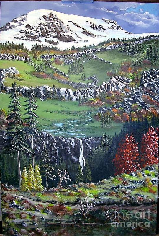 Landscape Art Print featuring the painting Rainier In Fall by John Wise