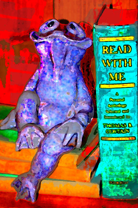 Art Print featuring the digital art Read With Me Frog by Danielle Stephenson