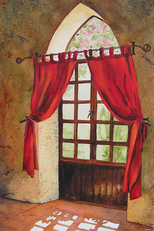 Curtain Art Print featuring the painting Red Curtain by Karen Stark
