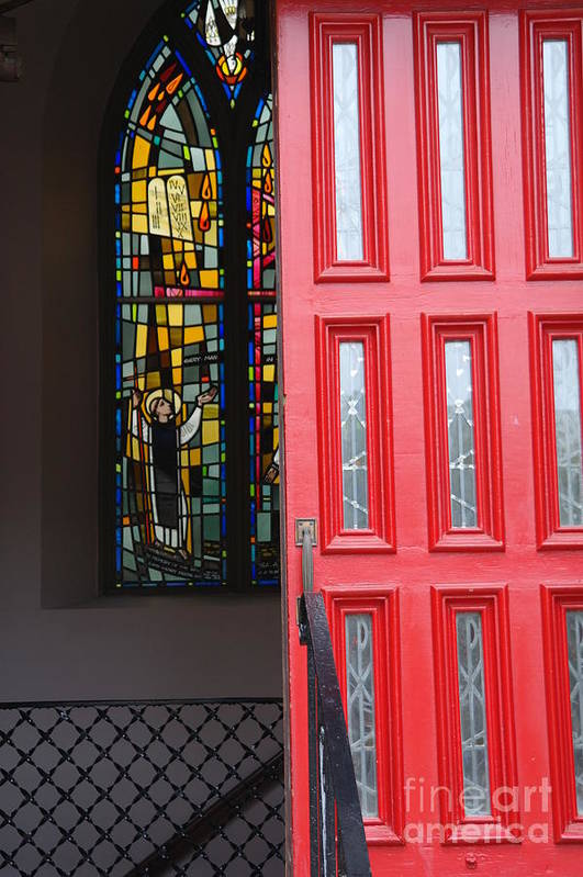 Red Door Art Print featuring the photograph Red Door At Church In Front Of Stained Glass by David Bearden
