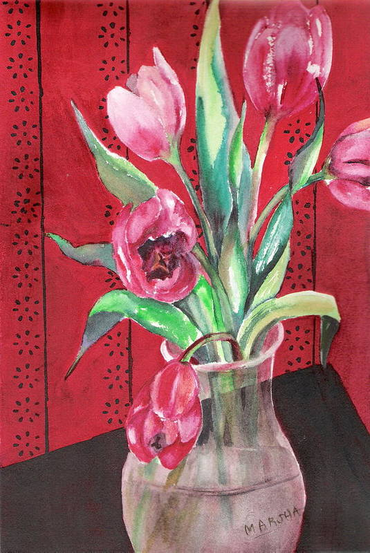 Tulips Art Print featuring the painting Red Drama by Marsha Woods