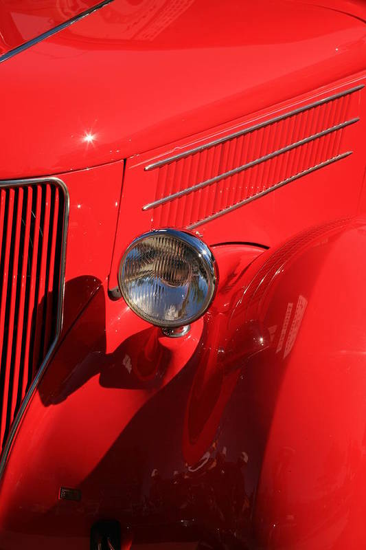 Red Hotrod Art Print featuring the photograph Red Hotrod by Carl Hinkle