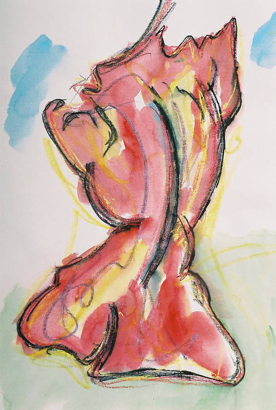 Drawing Art Print featuring the drawing Red by Oudi Arroni