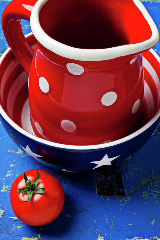 Pitcher Bowl Art Print featuring the photograph Red Pitcher And Tomato by Garry Gay