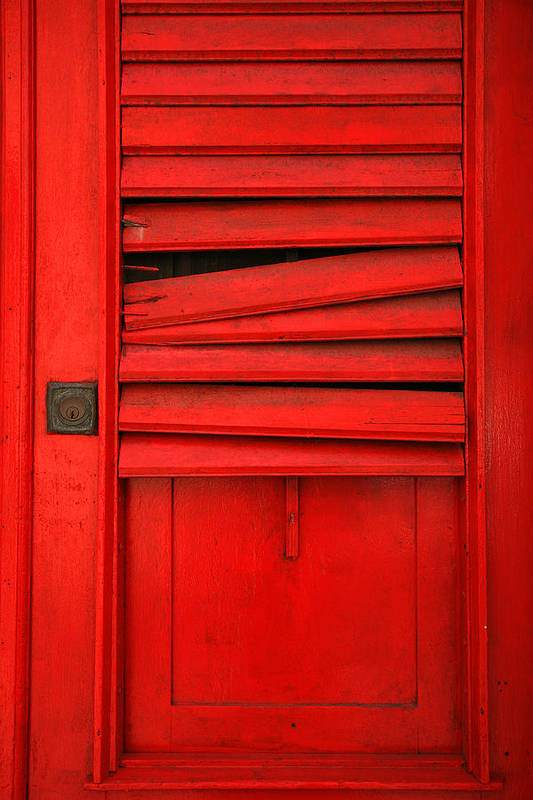 Red Art Print featuring the photograph Red Shutter by Timothy Johnson