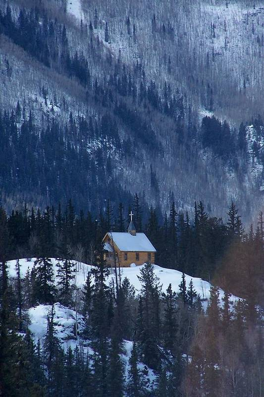 Landscape Print featuring the photograph Redcloud Chapel In Blue by David Ackerson