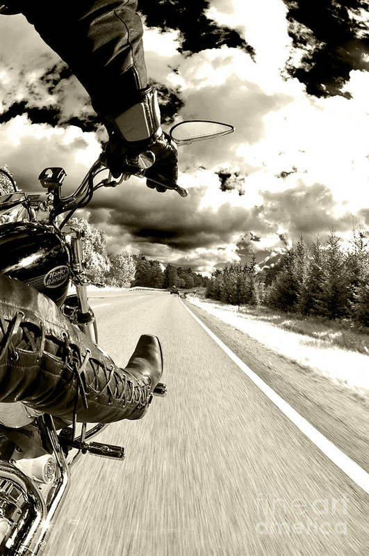 Harley Art Print featuring the photograph Ride To Live by Micah May