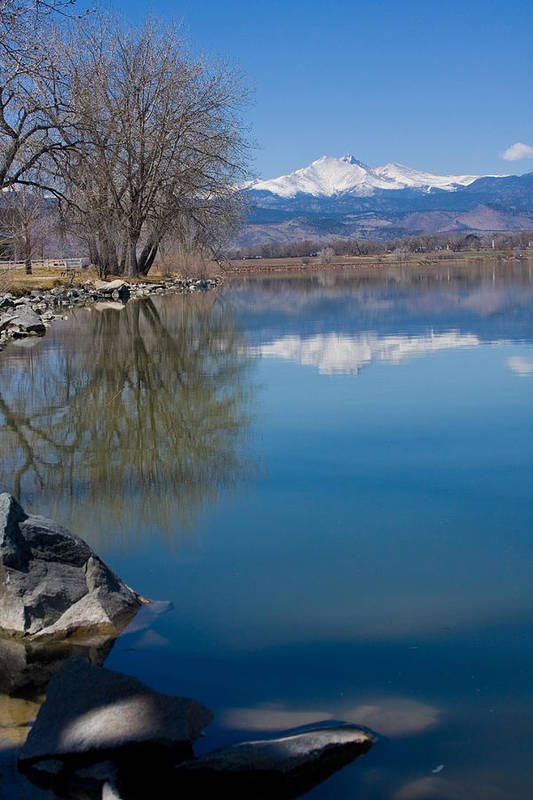 Twin Peeks Art Print featuring the photograph Rocky Mountain Reflections by James BO Insogna