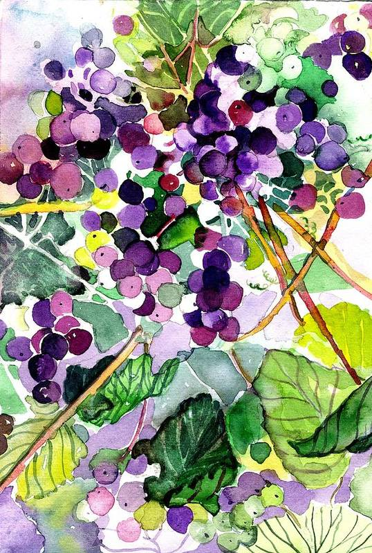 Wine Art Print featuring the painting Roman Grapes by Mindy Newman