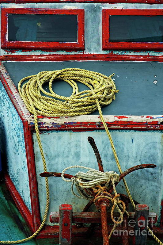 Anchor Art Print featuring the photograph Ropes And Rusty Anchors On A Boat Deck by Sami Sarkis