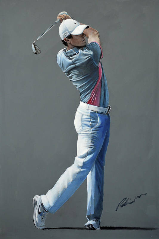 Rory Mcilroy Art Print featuring the painting Rory Mcilroy Ddc 2015 by Mark Robinson