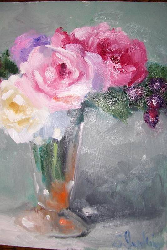 Stillife Art Print featuring the painting Roses And Berries by Susan Jenkins
