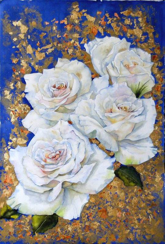 Rose Art Print featuring the painting Roses With Gold Leaf by Diane Ziemski