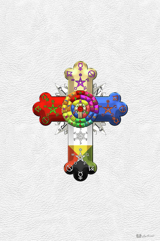 Rosy Cross Rose Croix On White Leather Art Print By Serge Averbukh