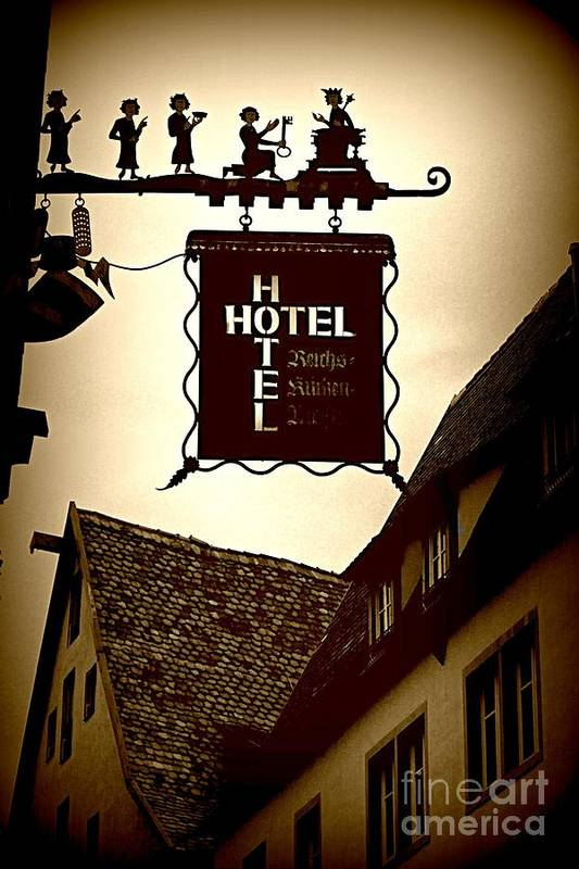 Hotel Sign Art Print featuring the photograph Rothenburg Hotel Sign - Digital by Carol Groenen