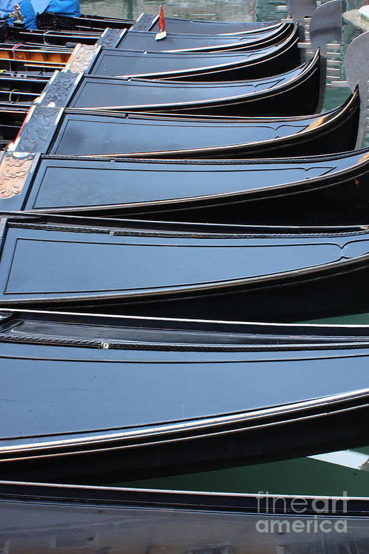 Italy Art Print featuring the photograph Row Of Gondolas In Venice by Michael Henderson