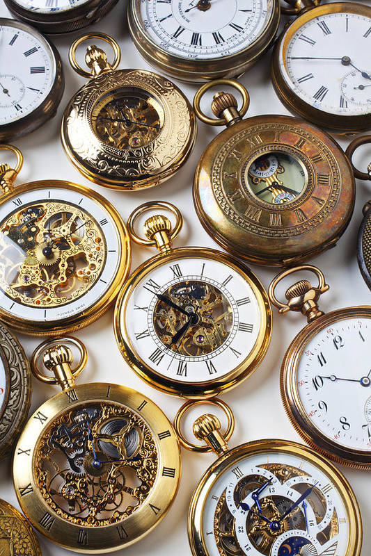 Time Art Print featuring the photograph Rows Of Pocket Watches by Garry Gay