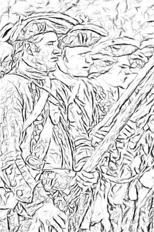 War Art Print featuring the digital art Royal Highlanders At Bushy Run Sketch by Randy Steele