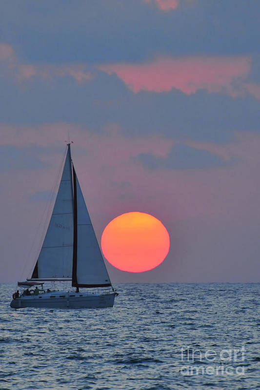 Sail Boats Art Print featuring the photograph Sailboat At Sunset by Shay Levy