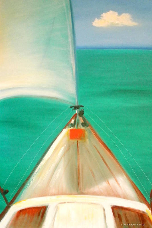 Sea Art Print featuring the painting Sailing by Gina De Gorna